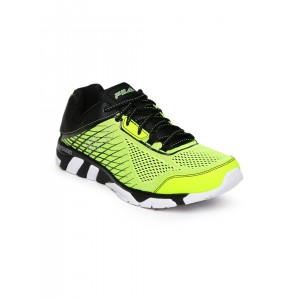 FILA Men Fluorescent Green & Black Mechanic Running Shoes