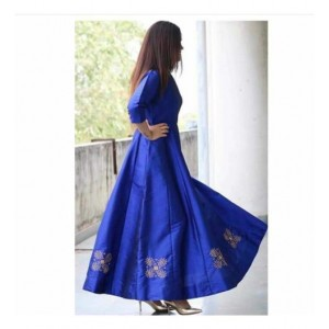 Fabdiwa Blue Silk Embroidered Anarkali suit