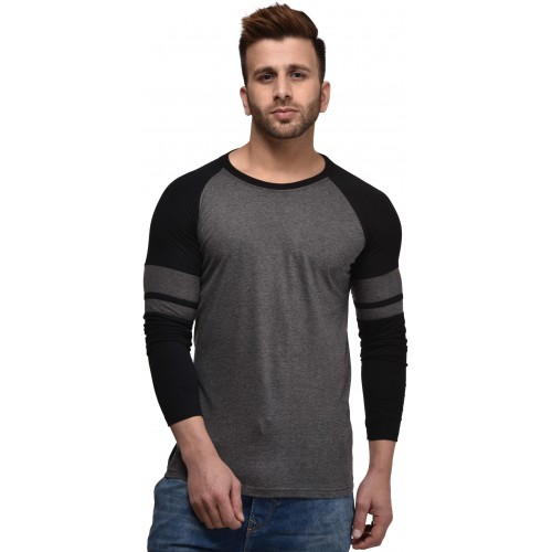 Kay Dee Solid Men's Round Neck Grey, Black T-Shirt