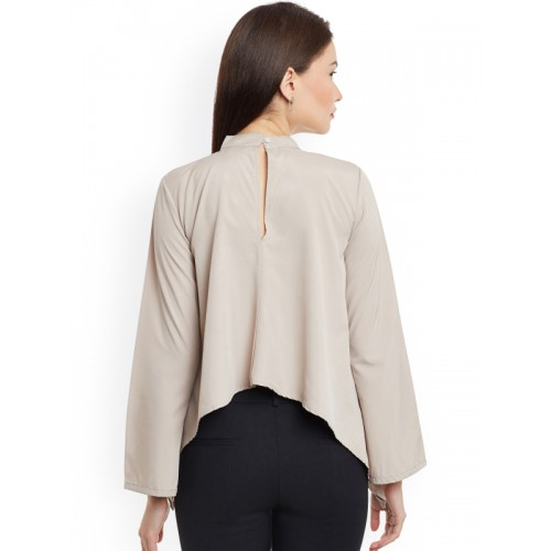 Popnetic Casual Full Sleeve Solid Women's Beige Top