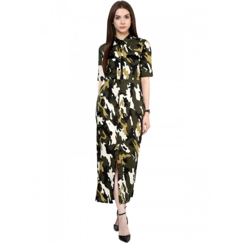 860be3fcf962 Buy Zima Leto Women Green   Black Camouflage Print Maxi Dress online ...