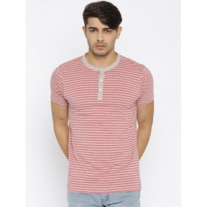 American Crew Red & Grey Striped Henley T-shirt