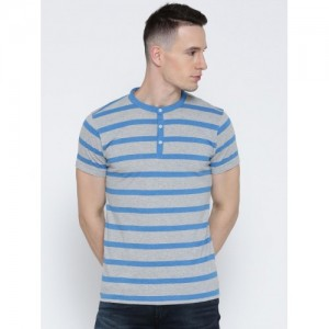 American Crew Grey Melange & Blue Striped Henley T-shirt