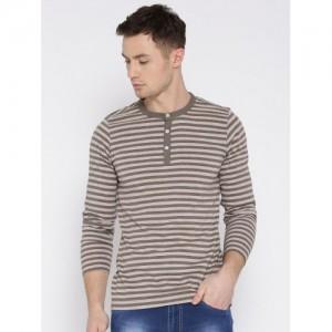 American Crew Brown & Grey Melange Striped Henley T-shirt