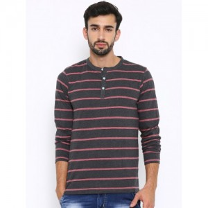 American Crew Charcoal Striped Henley T-shirt