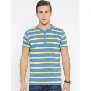 American Crew Blue Striped Henley T-Shirt