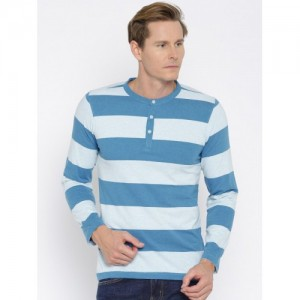 American Crew Blue Striped Henley Neck T-shirt