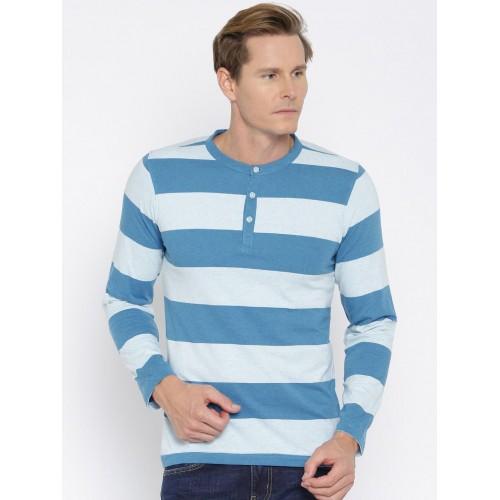 American Crew Blue Striped Henley Neck T-shirt