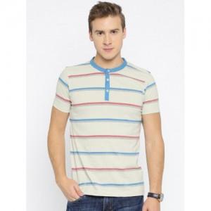 American Crew Beige Striped Henley T-Shirt