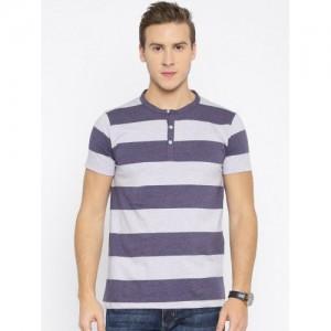 American Crew Purple Striped Henley T-shirt