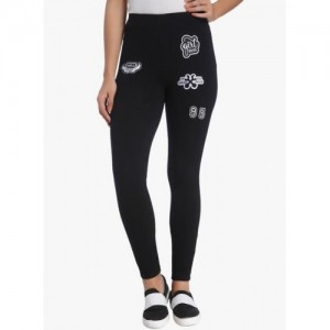 Only Black Viscose Spandex Embroidered Leggings