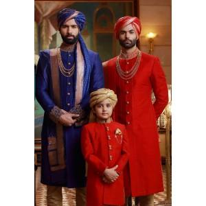 Samyakk Blue And Red Solid Achkan Sherwani