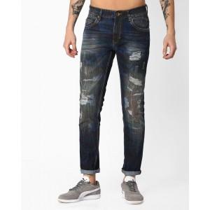 AJIO Navy Blue Slim Tapered Distressed Jeans