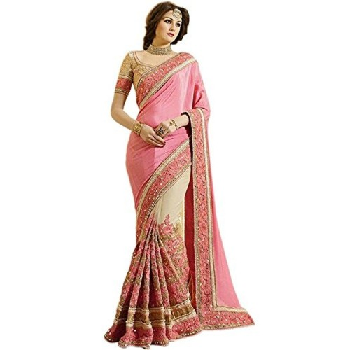 Fab Fort Fab Fort Women's Saree With Blouse Piece (Fabfs-269_Pink, Gold)