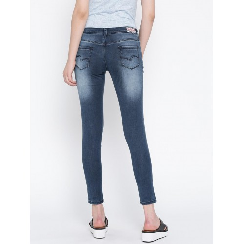b5c1a92b ... Lee Cooper Women Blue Alexi Skinny Fit Low-Rise Low Distressed Jeans ...
