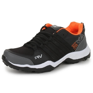 Trase Black & Orange Synthetic Sports Running Shoe