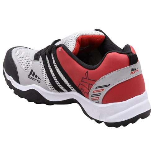 Aerofax Mens Gray & Red Lace Up Running Shoes