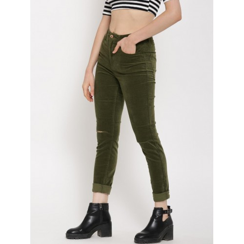 FOREVER 21 Women Olive Green Solid Flat-Front Slash Knee Corduroy Trousers