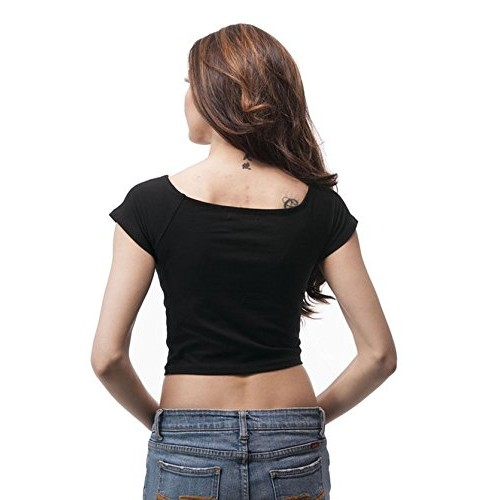 e7c128d1ee Fashion Line Cotton Lycra Crop Tshirt for Girls/Women (Pack of 1) Black ...
