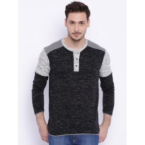 Campus Sutra Men Charcoal Grey Colourblocked Henley Neck T-shirt
