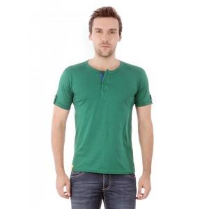 Campus Sutra Men Green Henley T-shirt