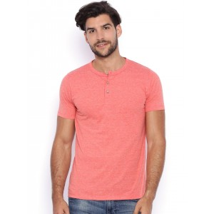 Campus Sutra Men Peach-Coloured Solid Henley Neck T-shirt