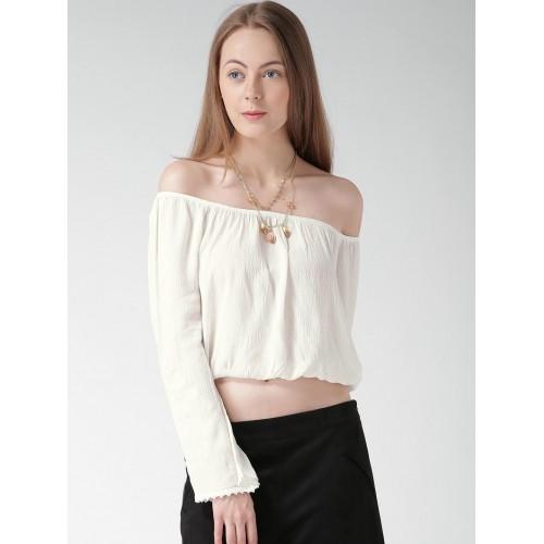4634c9ff67f7b3 Buy FOREVER 21 Off-White Off-Shoulder Crop Top online
