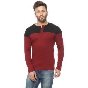 Gritstones Solid Men\'s Henley Maroon, Black T-Shirt