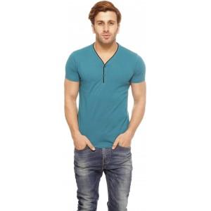 Gritstones Solid Men\'s Henley Blue T-Shirt