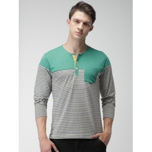 Mast & Harbour Men Off-White Striped Henley Neck T-Shirt