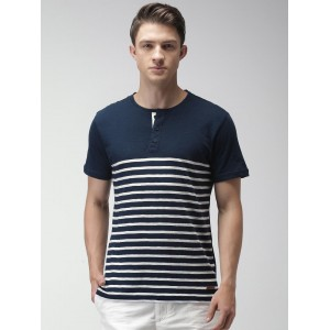 Mast & Harbour Men Navy & White Striped Henley Neck T-shirt