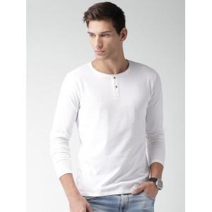 Mast & Harbour Men White Solid Henley Neck T-Shirt