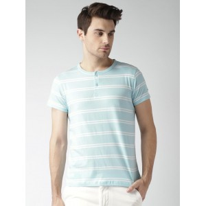 Mast & Harbour Men Blue Striped Henley T-shirt