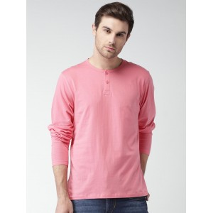 Mast & Harbour Men Pink Solid Henley T-shirt