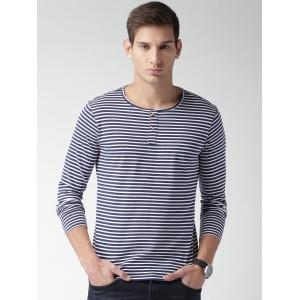 Mast & Harbour Men Navy & White Striped Henley T-shirt