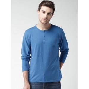 Mast & Harbour Men Blue Solid Henley T-shirt