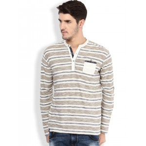 Mufti Brown & White Striped Slim Fit Henley T-shirt