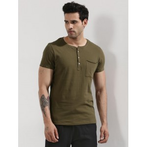 Mr Button  Pocket Henley T-Shirt With Eyelet Sleeves