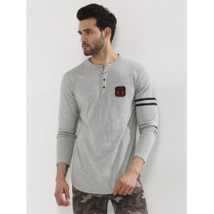 Mr Button  Longline Henley With Striped Sleeve
