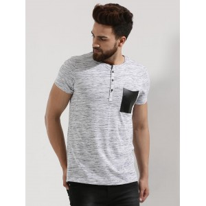 Mr Button  Textured Henley T-Shirt With Patch Pocket
