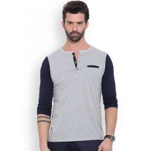 MR BUTTON Grey Melange Structured Fit Henley T-shirt