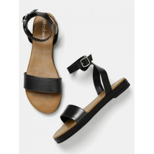 DressBerry Black Leather Solid Sandal