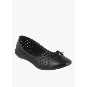 Mochi Black Synthetic Round Toe Belly Shoes