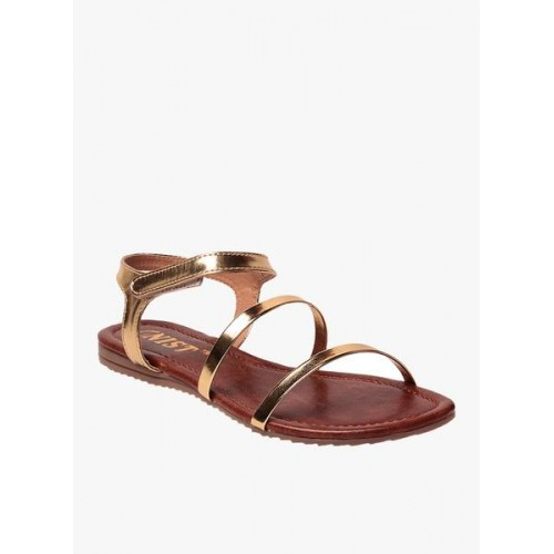 Gnist Golden Leather Solid Sandals