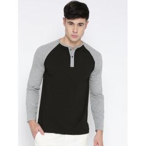 Fort Collins Men Black Solid Henley Neck T-shirt