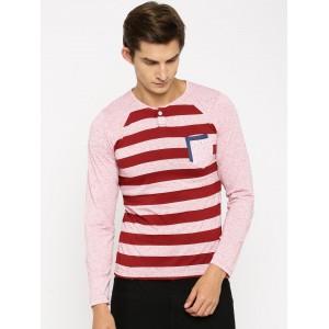 Fort Collins Men Pink & Maroon Striped Henley T-shirt