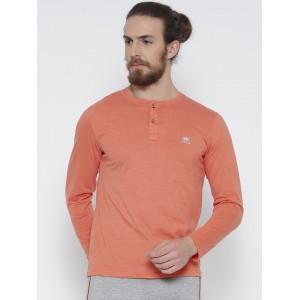 Fort Collins Men Coral Orange Solid Henley Neck T-shirt