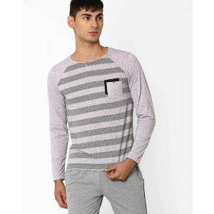Fort Collins Striped Henley T-shirt with Raglan Sleeves
