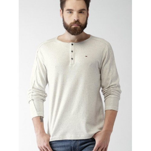3328f74e0ab43d Buy Tommy Hilfiger Men Off-White Self-Design Henley Neck T-shirt ...