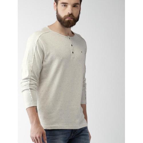 Buy Tommy Hilfiger Men Off White Self Design Henley Neck T